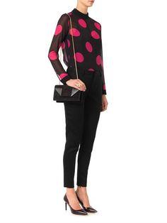 Saint Laurent Polka-dot-print silk-georgette blouse