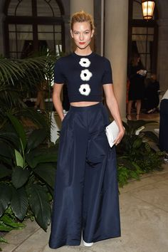 Karlie Kloss wide led trousers