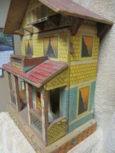 ANTIQUE-BLISS-DOLL-HOUSE-2-STOREY-WITH-PORCH-PAPER-LITHO-ON-WOOD-VERY-NICE. .....Rick Maccione-Dollhouse Builder www.dollhousemansions.com