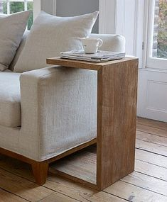 Sofa Arm Table, Table Designs, Modern Side Table, Product Design, Wooden Flooring, Modern Sofa, Solid Wood, Woods, Shape