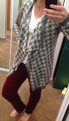Never worn this type of cardigan. I like this pattern. Byers Houndstooth Open Draped Cardigan by Staccato for $64.00.