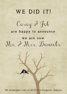 Rustic Wedding Announcement Wedding by starboardpress on Etsy                                                                                                                                                                                 More