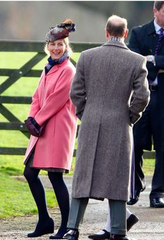Sophie, Countess of Wessex cut an elegant figure in a pretty powder pink coat as she joined the rest of the royal family at Sandringham today for Sunday Service 2014