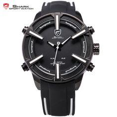 (39.68$)  Watch here  - Shark Sport Watch Brand LED Display Date Day Relogio Masculino Alarm Silicone Strap Analog Military Men Digital Watch / SH387