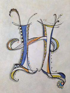 "Zenspiration ""H"" on Pan Pastel background - done with Zig Brushables, Micron pens, and Moonlight Gelly Roll pens"