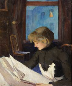 """Newspaper reading (1890-1893). Ludwig von Hofmann (German, 1861-1945). Oil on cardboard. Von Hofmann studied in Dresden, Karlsruhe and Paris, and belonged to the Group of XI, later the Berlin Secession. Artistically he could not be classified easily as he painted in different styles. Some of his works were considered """"degenerate"""" by the Nazis, while others were acceptable to the Reich."""