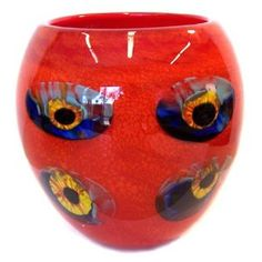 red, blue and yellow murano glass vase