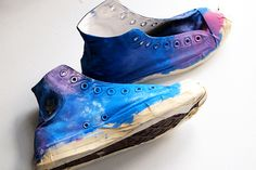 Paint your own Galaxy Converse. This trendy design can be applied to t-shirts and dresses so I wanted to apply the concept to my beloved Converse.