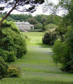 Antony House, Cornwall, England across long lawns