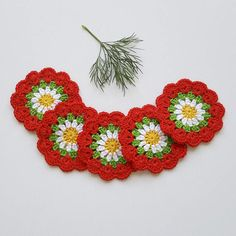 Crochet flowers Applique flower Flower motif Mini doilies
