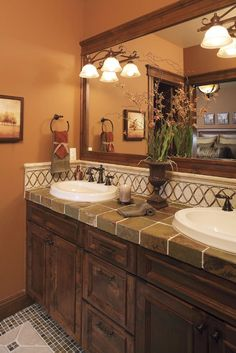 Beautiful tile work- counter top and floors!