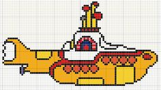 Buzy Bobbins: Yellow submarine from the Beatles Yellow Submarine Film cross stitch design