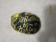 FISH BELT BUCKLE I WOULD RATHER BE FISHING 1985 THE GREAT AMERICAN BUCKLE CO