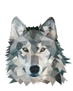 Wolf Face Low Poly Tattoo Design