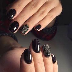 Beautiful dark nails, Black dress nails, Black nails ideas, Dark autumn nails, Evening nails, Luxury nails, Nails ideas 2016, Nails trends 2016