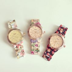 Beautiful Floral Metal Watch $40.90 ~shopebbo http://www.shopebbo.com/collections/frontpage/products/floral-pink-metal-watch