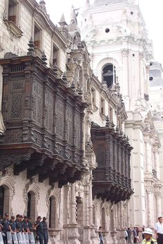 de la Barra photography.Colonial Balconies, Lima, Peru