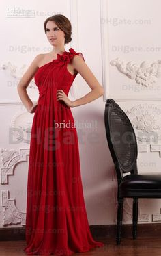 Wholesale ruched floral one shoulder full length bright red bridesmaid dresses Prom dresses DM133, Free shipping, $84.83-94.91/Piece | DHgate