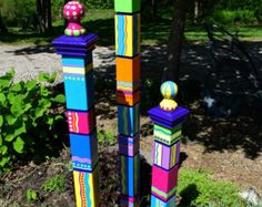 Garden Totem, Garden Totems, Garden Art, Garden Sculpture, Sculptural Totems, Yard Art, Colorful Totems, Lawn Art, Set of Three (3) Totems