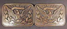 Lot of 2 Vintage United States Eagle Symbol 'E Pluribus Unum' Brass Belt Buckles #Unbranded