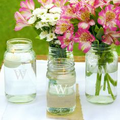 Personalized Mason Jar Vase Collection. These are so elegant and just right for my reception tables.
