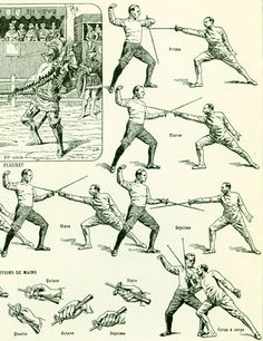 "Antique print taken from the ""Encyclopédie Larousse"", Paris, France. Pretty thick paper, not too glossy. The reverse side is printed (black and white prints about the same ... #scrapbooking #sport #fencing #art #martial #stick-fighting #old #vintage #dictionary #foil"