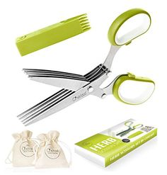 Herb Scissors Set by Chefast - Multipurpose Cutting Shears with 5 Stainless Steel Blades, 2 Jute Pouches, and Safety Cover with Cleaning Comb - Cutter / Chopper / Mincer for Herbs - Kitchen Gadget