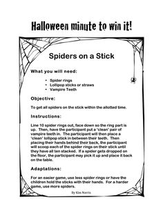 Halloween Themed Minute to Win It -Spiders on a stick