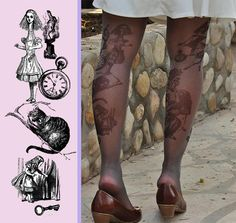 Hey, I found this really awesome Etsy listing at https://www.etsy.com/listing/185058622/tattoo-tights-alice-in-wonderland-gray