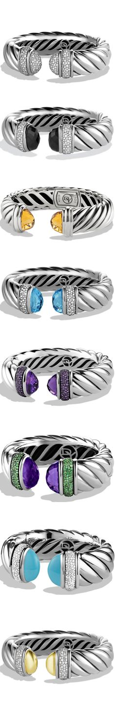 David Yurman We can't get enough of this collection. David is a design genius! I Love Jewelry, Jewelry Box, Silver Jewelry, Jewelry Accessories, Fine Jewelry, Jewelry Design, Bracelets For Men, Bangle Bracelets, Bangles