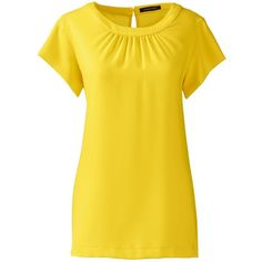 Lands' End Women's Petite Short Sleeve Shirred Blouse ($59) ❤ liked on Polyvore featuring tops, blouses, yellow, evening blouses, special occasion blouses, short sleeve blouse, petite tops and summer tops