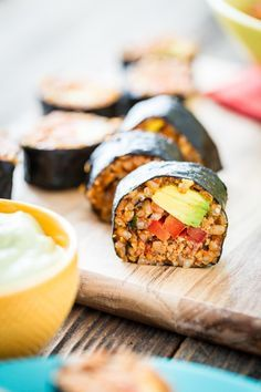 Mexican Sushi with Spanish Rice and No Cook Walnut Taco Meat