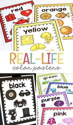 Kindergarten Posters, Kindergarten Colors, Preschool Colors, Teaching Colors, Homeschool Kindergarten, Homeschooling, Preschool Classroom Decor, Toddler Classroom, Free Preschool