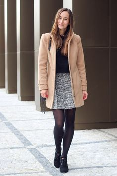 Get the shoes - Wheretoget Camel Coat, Fur Coat, Rebecca Minkoff, Librarian Chic, Topshop, Michael Kors, Other Outfits, Gray Skirt, Fall Outfits
