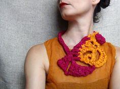 Silk necklace, sari silk, crochet necklace, statement jewelry, free form crochet, orange necklace, yarn jewelry - pinned by pin4etsy.com