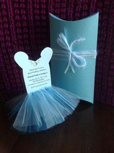 Princess Cinderella Tutu Invitation Set With Pillowbox