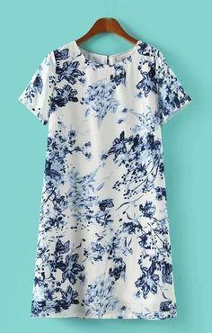 Blue and White Porcelain Pattern Printing Vintage Dress