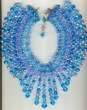 2  Coppola e Toppo necklace in shades of blue and lavender crystal beads from the 1960s. The typical CeT weave pattern is evident in the inner part of the necklace. See Moro, European Designer Jewelry pg 198 for a similar necklace.