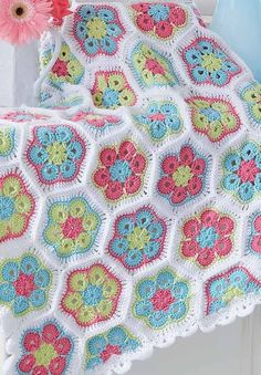 Baby Flowers Afghan  Crochet Colorful Baby Blankets to Brighten a Baby's Nursery