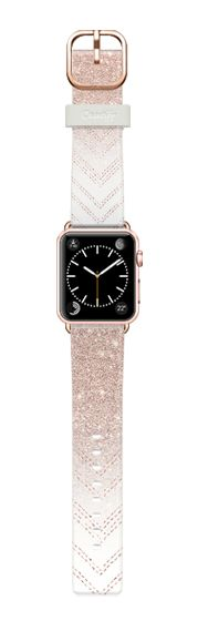 Casetify Apple Watch Band (38mm) Casetify Band - Chic elegant faux rose gold glitter ombre modern geometric chevron pattern fashion stitch by Girly Trend by Girly Trend #Casetify