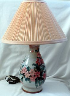 Bygonera Majolica Lamp with Floral Relief/Made in by BYGONERA