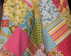 Bright Colorful Baby Quilt with Minky Backing by lillovesboutique, $43.00