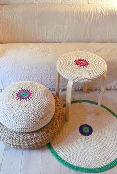 Floor Cushion Crochet  - ecru and colors.