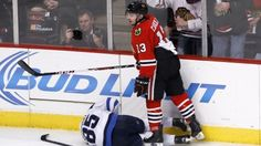 Chicago Blackhawks forward Daniel Carcillo was suspended for six games without pay for cross-checking Winnipeg Jets forward Mathieu Perreault, the league announced Monday.