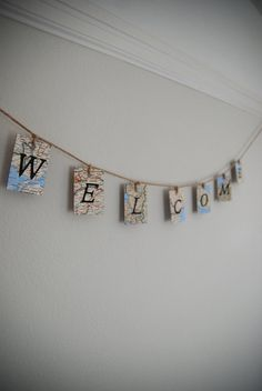 Welcome Map Banner - Home Decor Housewarming Decoration - Upcycled Wooden Sign