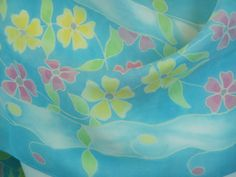 Silk Scarf Hand Painted Blue Charmeuse with by FlingamoScarves