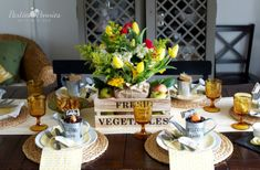 Farmers Market Easter Bruch Party by Parties for Pennies, 10 Easter Table Ideas via A Blissful Nest