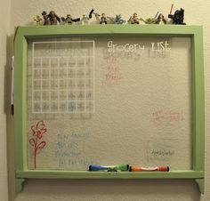 old window...write on it with dry erase markers.
