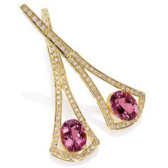 Amsterdam Sauer Earrings - Rubellite and diamond Earrings - In 18-kt yellow gold with Rubellite and diamond.