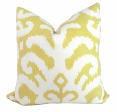 Duralee Yellow Ikat Decorative Pillow Cover  18x18, 20x20, 22x22, 14x20 or 12x24, Accent Pillow, Throw Pillow, Toss Pillow. $45.00, via Etsy.